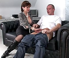 Shiny knee boots milf gives handjob